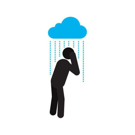 Mann, der unter strömendem Regenschattenbildikone steht. Person, die nass wird. Depression. Regnerisches Wetter. Isolierte Vektorillustration Vektorgrafik