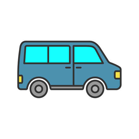Minibus color icon. Minivan. Family car. Isolated vector illustration 向量圖像