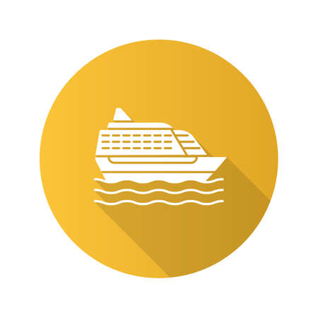 Cruise ship flat design long shadow glyph icon. Ocean liner. Vector silhouette illustration