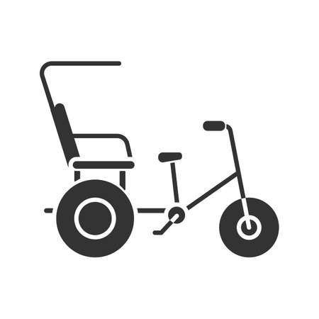 Cycle rickshaw glyph icon. Velotaxi, pedicab. Silhouette symbol. Negative space. Vector isolated illustration