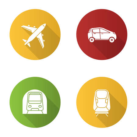 Public transport flat design long shadow glyph icons set. Modes of transport. Airplane, car, transrapid, metro. Vector silhouette illustration 向量圖像