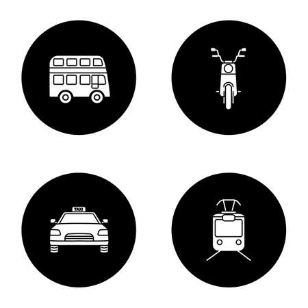 Public transport glyph icons set. Modes of transport. Double decker bus, scooter, taxi, tram. Vector white silhouettes illustrations in black circles