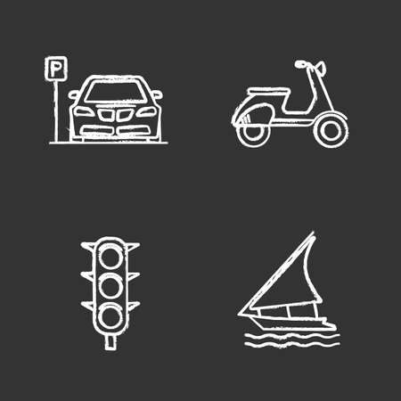 Public transport chalk icons set. Modes of transport. Parking zone, scooter, traffic light, sailing boat. Isolated vector chalkboard illustrations Ilustrace