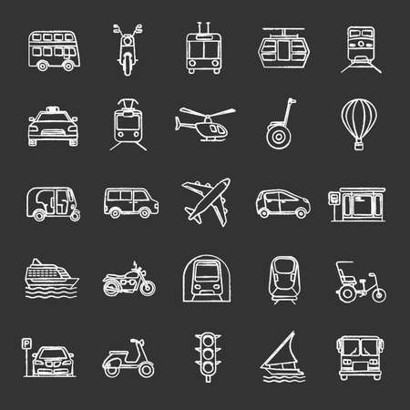 Public transport chalk icons set. Water, land and air vehicles. Modes of transport. Isolated vector chalkboard illustrations
