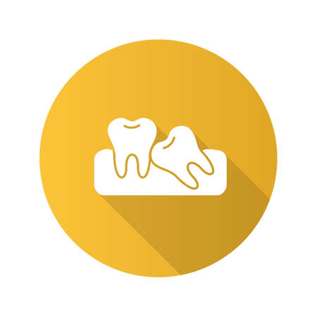 Crooked teeth flat design long shadow glyph icon. Malocclusion. Wisdom tooth problem. Vector silhouette illustration