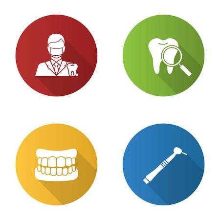 Dentistry flat design long shadow glyph icons set. Stomatology. Dentist, teeth check, denture, dental drill. Vector silhouette illustration