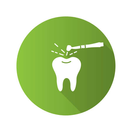 Tooth drilling process flat design long shadow glyph icon. Dentistry. Dental handpiece. Vector silhouette illustration