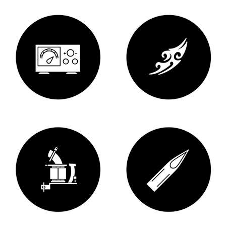 Tattoo studio glyph icons set. Piercing service. Power supply, tattoo machine, sketch, ink needle tip. Vector white silhouettes illustrations in black circles