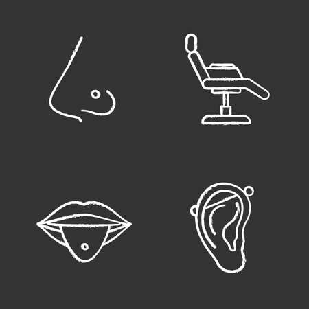 Tattoo studio chalk icons set. Piercing service. Pierced nose and tongue, tattoo chair, industrial piercing. Isolated vector chalkboard illustrations Illustration