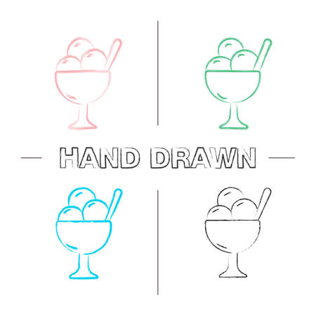 Ice cream in bowl hand drawn icons set. Color brush stroke. Isolated vector sketchy illustrations