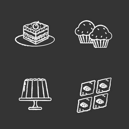 Condectionery chalk icons set. Coffee house menu. Tiramisu, cupcakes, jelly pudding, baklava. Isolated vector chalkboard illustrations