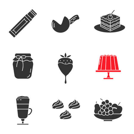 Confectionery glyph icons set. Silhouette symbols. Chewing gum stick, fortune cookie, tiramisu, berry jam, strawberry in chocolate, pudding, coffee, meringues, fruit. Vector isolated illustration