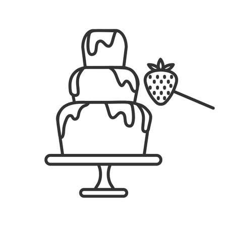 Fontana di cioccolato e icona lineare fragola. Illustrazione al tratto sottile. Fonduta. Simbolo di contorno. Disegno di assieme isolato vettoriale