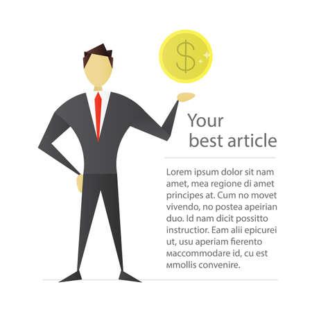 Man holding dollar coin flat character design. Businessman, analyst, economist, financier, marketer, manager. Vector isolated illustration Illustration