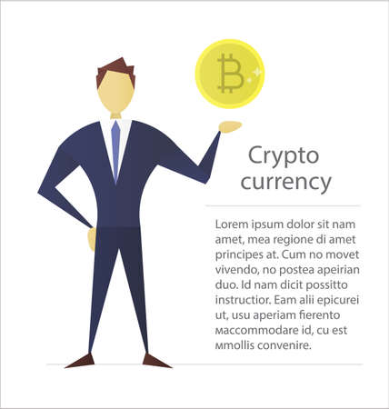 Man holding bitcoin flat character design. Businessman, analyst, economist, financier, marketer, manager. Successful and confident person. Vector isolated illustration Illustration