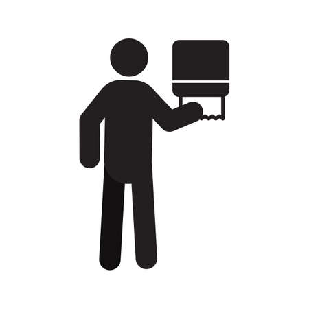 Man using paper towel dispenser silhouette icon. Wiping hands at public toilet. Isolated vector illustration