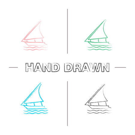 Sailing boat hand drawn icons set. Color brush stroke. Felucca. Yacht. Isolated vector sketchy illustrations