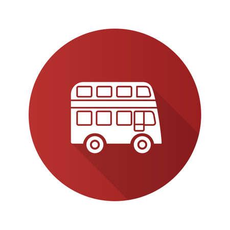 Dubbeldekker bus platte ontwerp lange schaduw glyph pictogram. Bus met twee verdiepingen. Vector silhouet illustratie