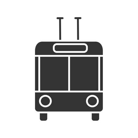Trolleybus in front view glyph icon. Silhouette symbol. Trolley coach. Trackless trolley. Negative space. Vector isolated illustration