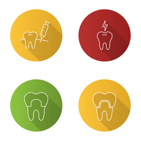 Dentistry flat linear long shadow icons set. Stomatology. Gum injection, dental crown, toothache. Vector outline illustration