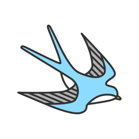 Swallow bird color icon. Sailor's tattoo sketch. Isolated vector illustration