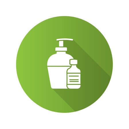 Antibacterial liquid and soap flat design long shadow glyph icon. Tattoo aftercare. Vector silhouette illustration