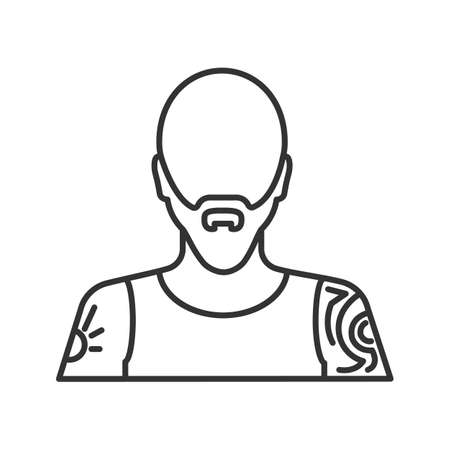 Tattoo artist linear icon. Tattooist. Thin line illustration. Man with tattooed body. Contour symbol. Vector isolated outline drawing