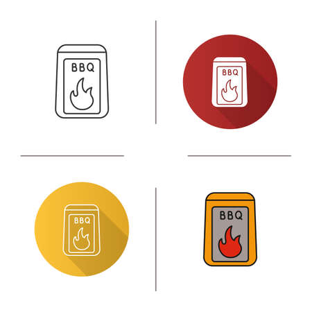 Barbeque coal icon. Flat design, linear and color styles. Bbq fuel. Isolated vector illustrations