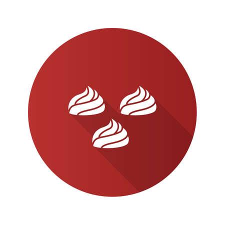 Meringues flat design long shadow glyph icon. Marshmallow. Vector silhouette illustration  イラスト・ベクター素材