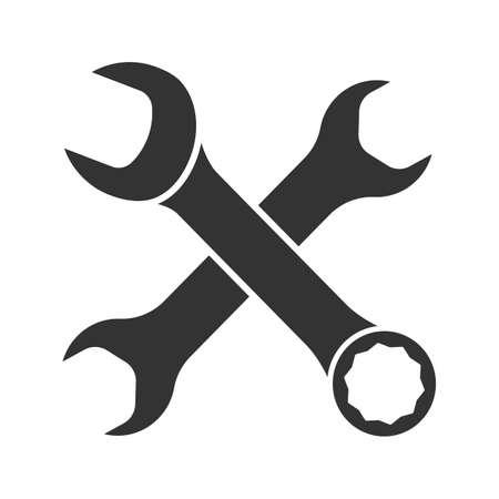 Glyphensymbol mit gekreuzten Schraubenschlüsseln. Schattenbildsymbol. Doppelte offene und kombinierte Schraubenschlüssel. Negativer Raum. Vektor isolierte Illustration Vektorgrafik
