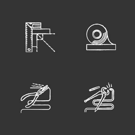 Construction tools chalk icons set. Set square, adhesive tape, round nose and carpenter's end pliers. Isolated vector chalkboard illustrations