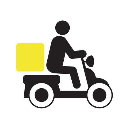Persoon rijden levering scooter silhouet pictogram. Pizza bezorging. Motor met doos. Geïsoleerde vectorillustratie