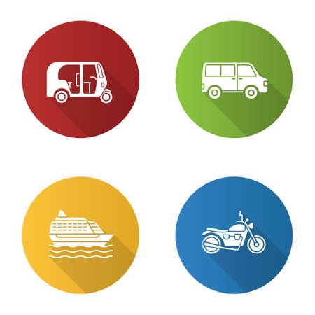 Public transport flat design long shadow glyph icons set. Modes of transport. Auto rickshaw, minivan, cruise ship, motorbike. Vector silhouette illustration
