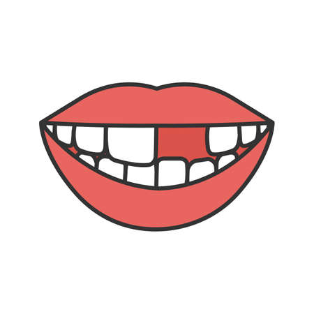 Smile with missing tooth color icon. Isolated vector illustration