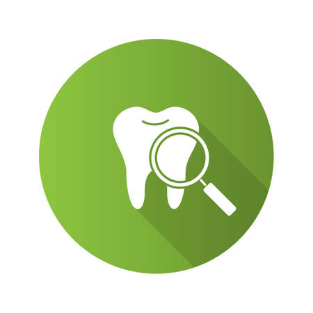 Teeth medical check flat design long shadow glyph icon. Tooth with magnifying glass. Vector silhouette illustration