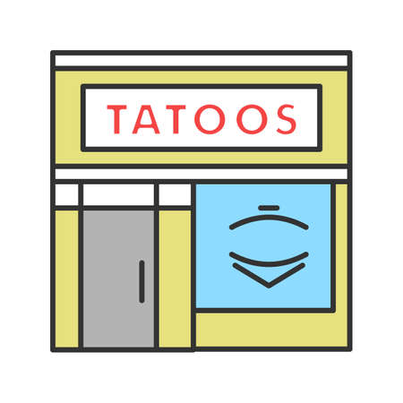 Tattoo studio facade color icon. Tattoo parlour exterior. Isolated vector illustration