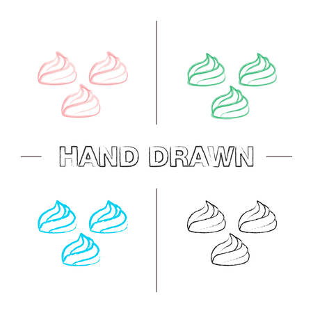 Meringues hand drawn icons set. Marshmallow. Color brush stroke. Isolated vector sketchy illustrations Ilustracja