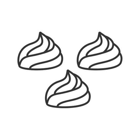 Icona lineare di meringhe. Illustrazione al tratto sottile. Marshmallow. Simbolo di contorno. Disegno di assieme isolato vettoriale Vettoriali