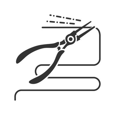 Round nose pliers cutting wire glyph icon. Silhouette symbol. Negative space. Vector isolated illustration