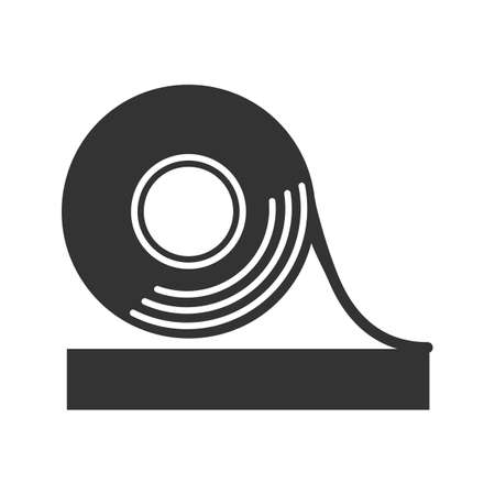 Adhesive tape roll glyph icon. Silhouette symbol. Insulating and electrical tape. Negative space. Vector isolated illustration