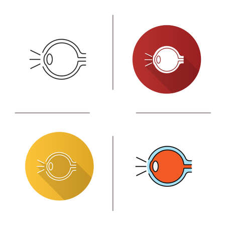 Eye anatomy icon. Flat design, linear and color styles. Light refraction in eye. Isolated vector illustrations