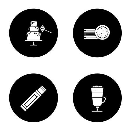 Confectionery glyph icons set. Chocolate fountain, sandwich cookies, chewing gum stick, macchiato latte. Vector white silhouettes illustrations in black circles