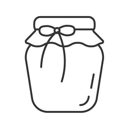 Icona lineare del barattolo di marmellata di fragole. Illustrazione al tratto sottile. Composta di frutta. Simbolo di contorno. Disegno di assieme isolato vettoriale