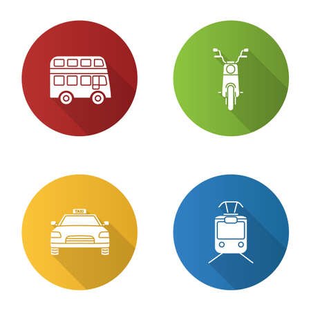 Public transport flat design long shadow glyph icons set. Modes of transport. Double decker bus, scooter, taxi, tram. Vector silhouette illustration Illustration