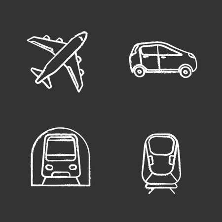 Public transport chalk icons set. Modes of transport. Airplane, car, transrapid, metro. Isolated vector chalkboard illustrations