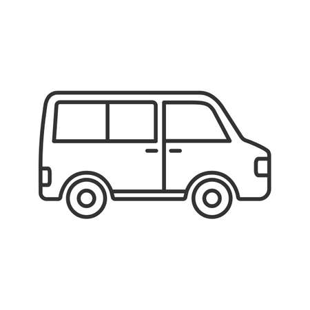Minibus linear icon. Thin line illustration. Minivan. Family car. Contour symbol. Vector isolated outline drawing Stock Illustratie