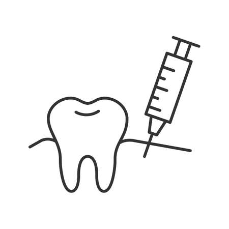 Gum injection linear icon. Thin line illustration. Dental anesthesia. Contour symbol. Vector isolated drawing