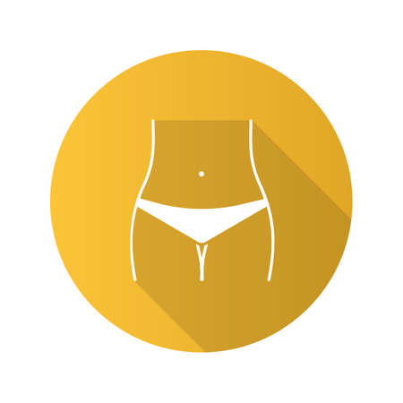 Slim woman waist flat design long shadow glyph icon. Bikini zone. Navel piercing. Vector silhouette illustration