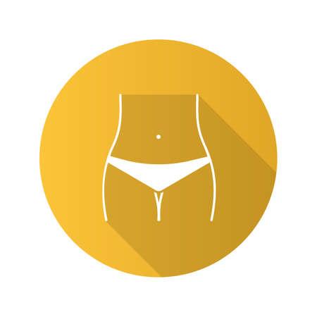 Szczupła kobieta talia płaska konstrukcja długi cień ikona glifów. Strefa bikini. Kolczyk w pępku. Ilustracja sylwetka wektor