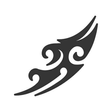 Tattoo image glyph icon. Silhouette symbol. Tattoo sketch. Negative space. Vector isolated illustration  イラスト・ベクター素材